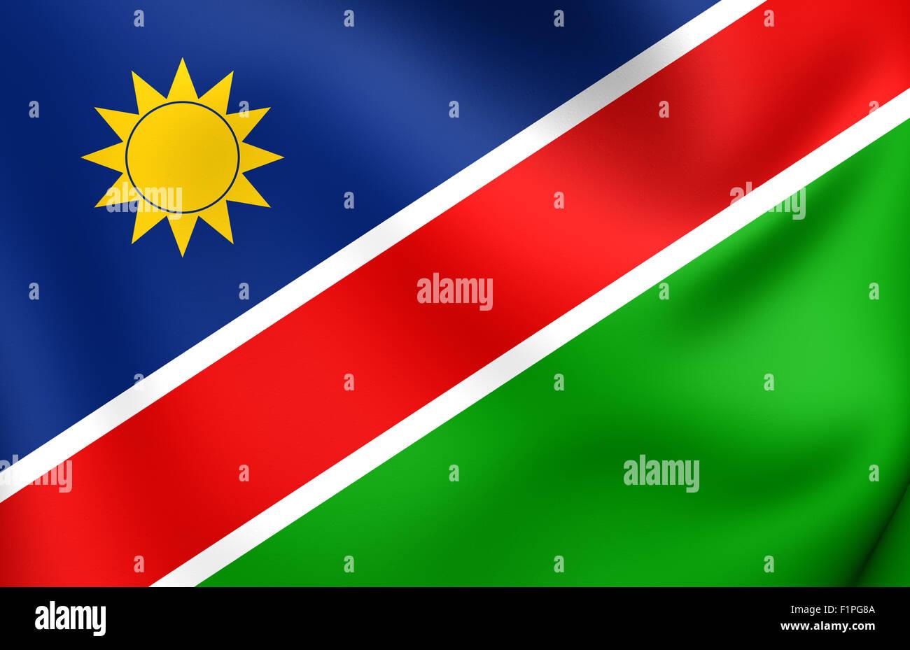 Flag of Namibia. Close Up. - Stock Image
