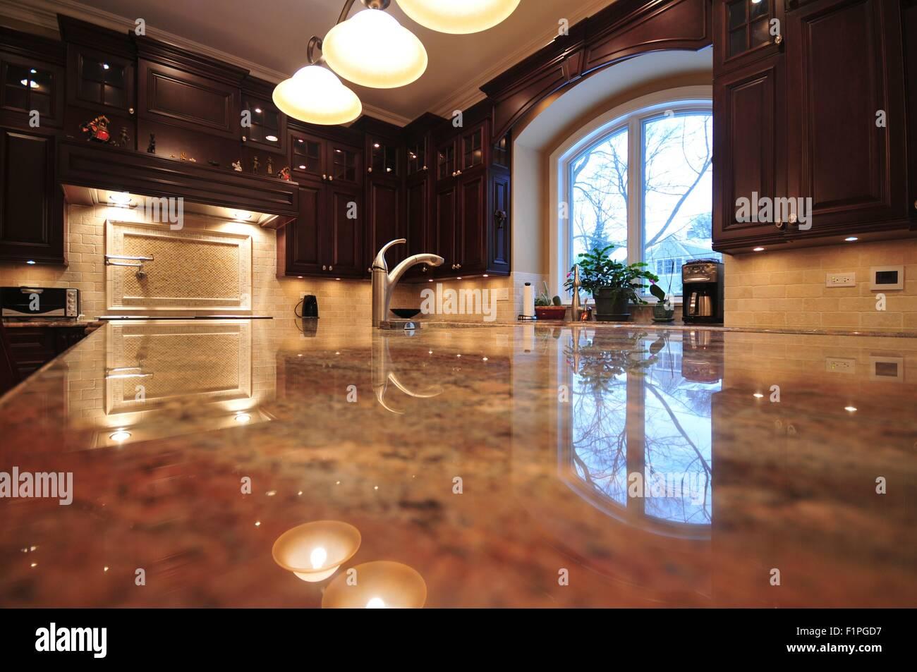 Kitchen Interior. Fancy Kitchen Granite Countertop Stock Photo