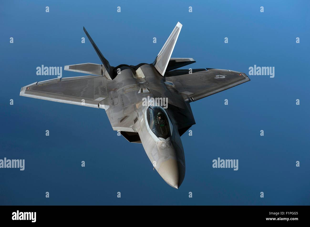 A U.S. Air Force F-22 Raptor from the 95th Fighter Squadron, Tyndall Air Force Base, Fla., flies over the Baltic - Stock Image