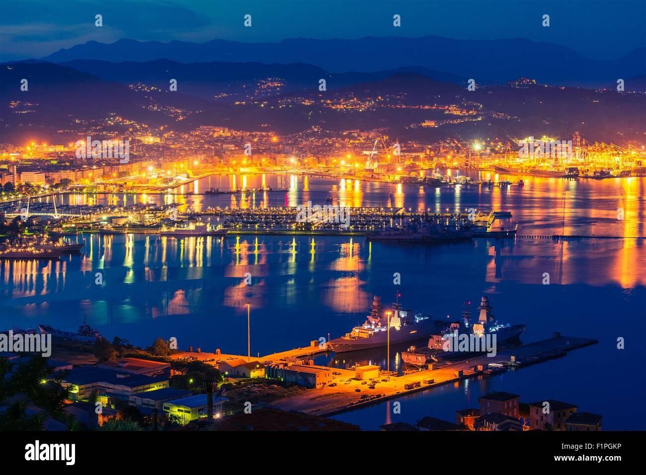 La Spezia at NIght. Gulf of La Spezia in the Liguria Region of Northern Italy - Stock Image