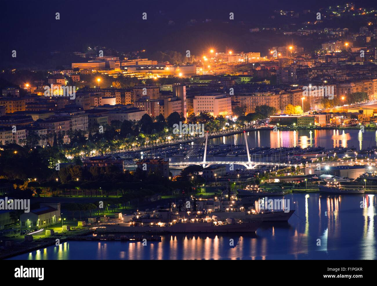 La Spezia Italy at Night. Hot Summer Night in Northern Italy, Europe. Cityscape Panorama at Night. - Stock Image