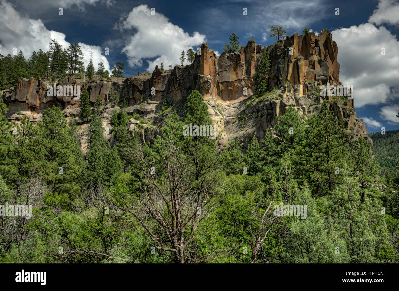 Battleship Rock, in the Jemez Mountains of northern New Mexico. - Stock Image
