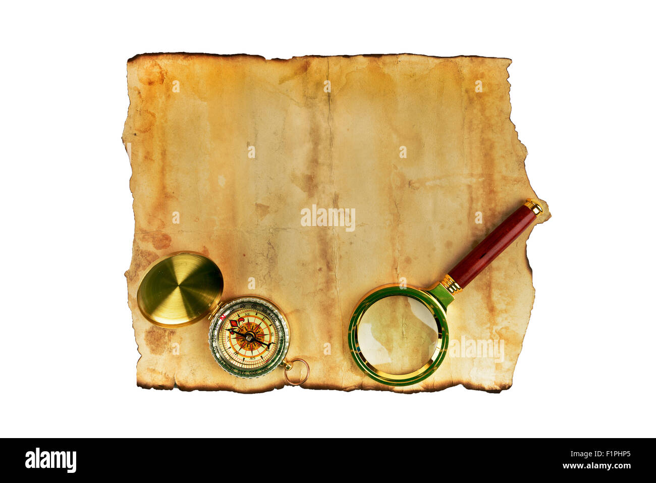 Old grunge blank paper sheet with compass - Stock Image