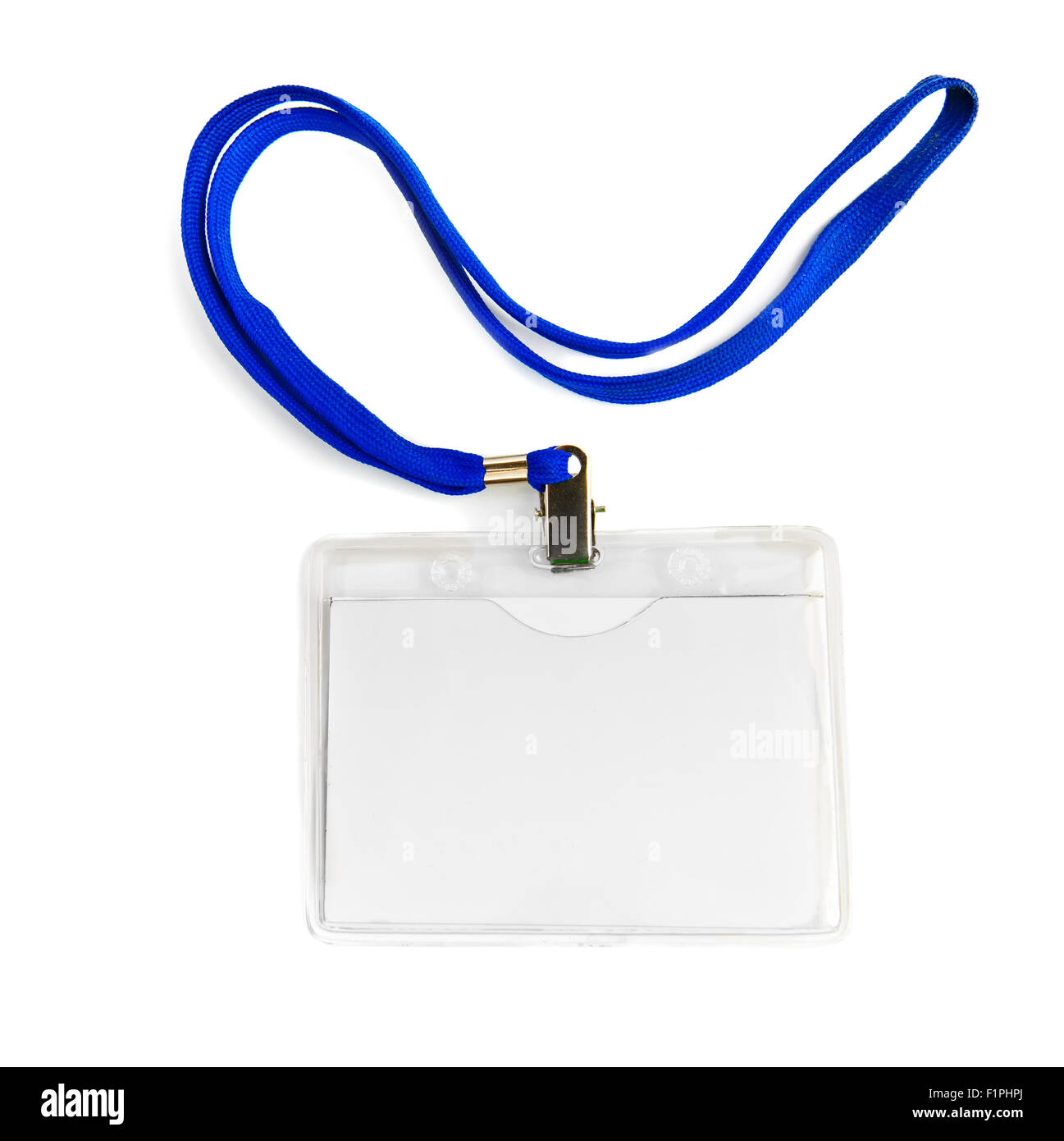 Name id card badge with cord (rope) isolated - Stock Image