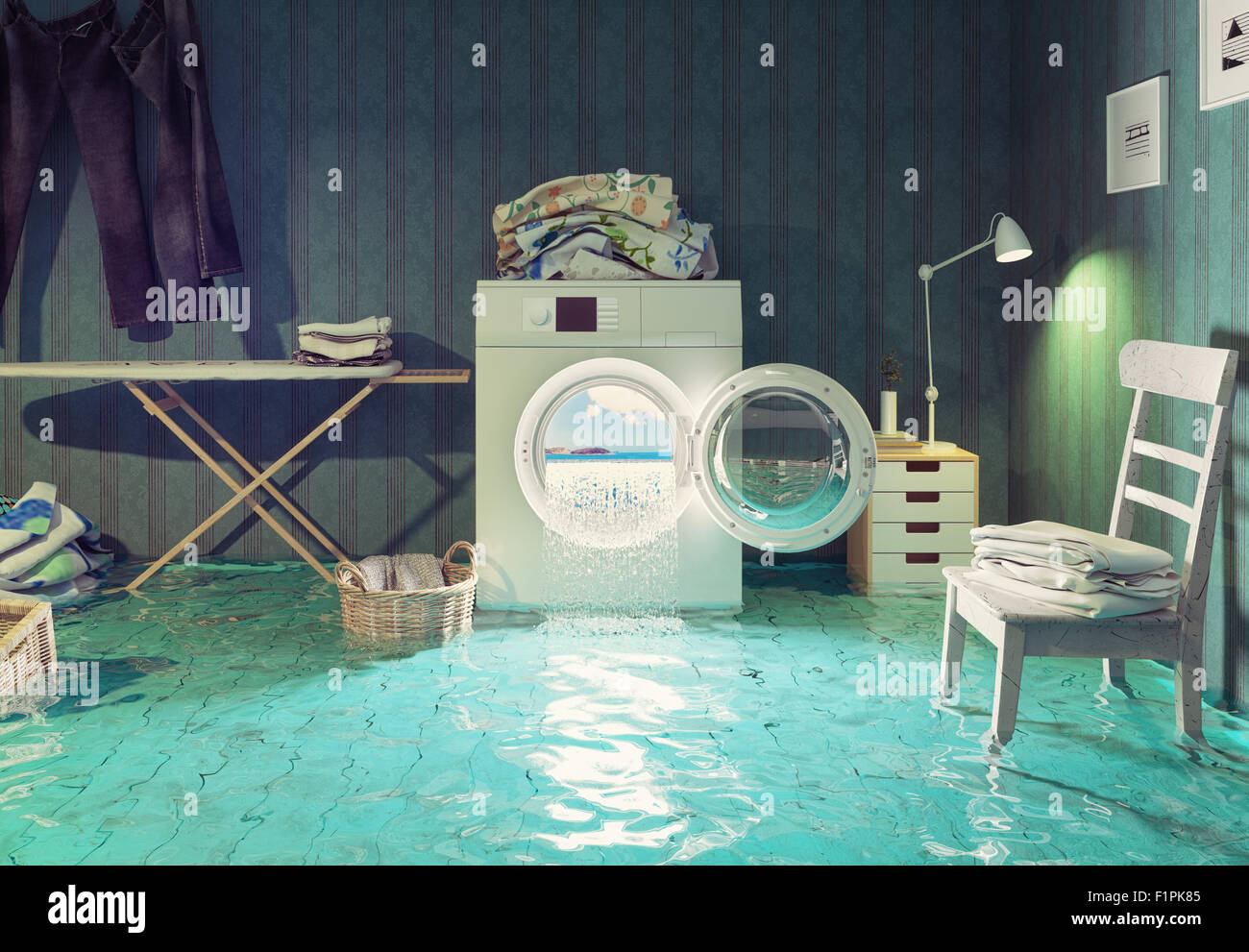 housework  dreams. 3d Creative concept. - Stock Image
