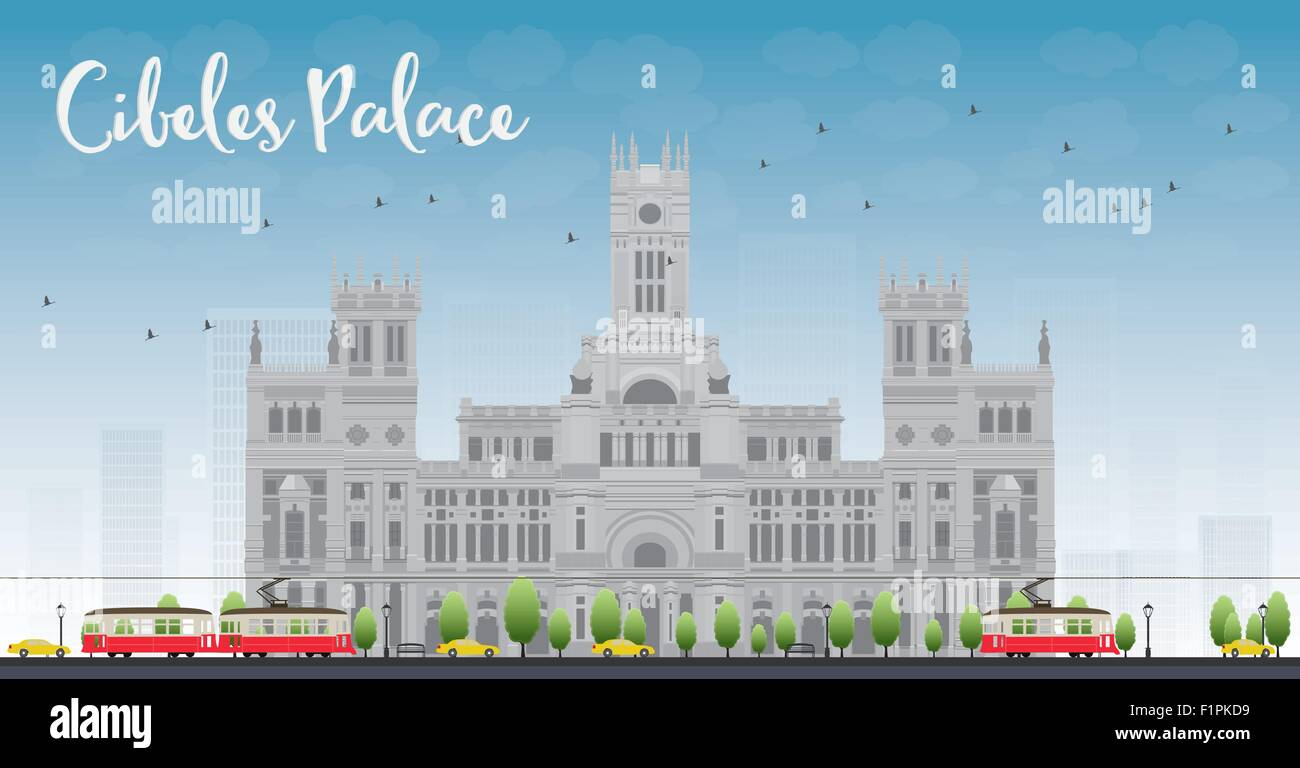 Cibeles Palace (Palacio de Cibeles), Madrid, Spain. It was home to the Postal and Telegraphic Museum until 2007. - Stock Vector
