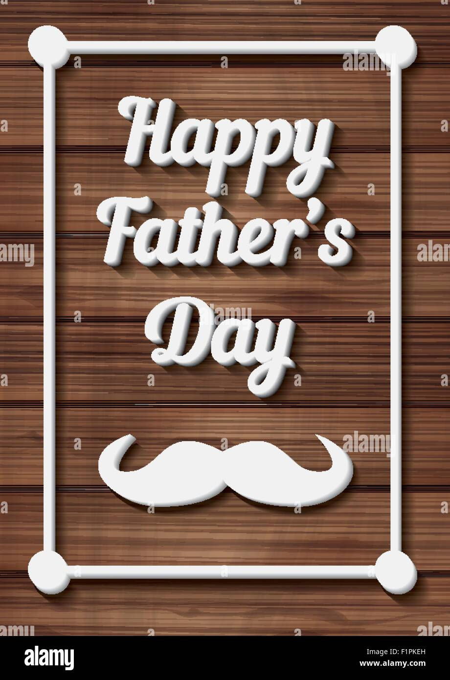 Happy Father's Day Typographical Background with moustache on wooden texture. Vector illustration - Stock Image