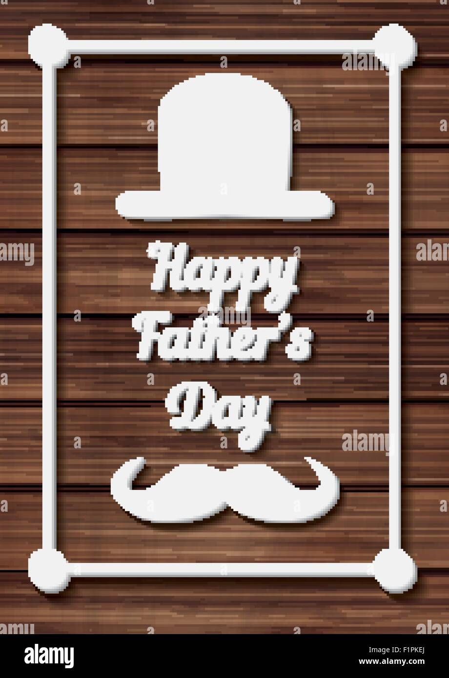 Happy Father's Day Typographical Background with moustache and hat on wooden texture. Vector illustration - Stock Image