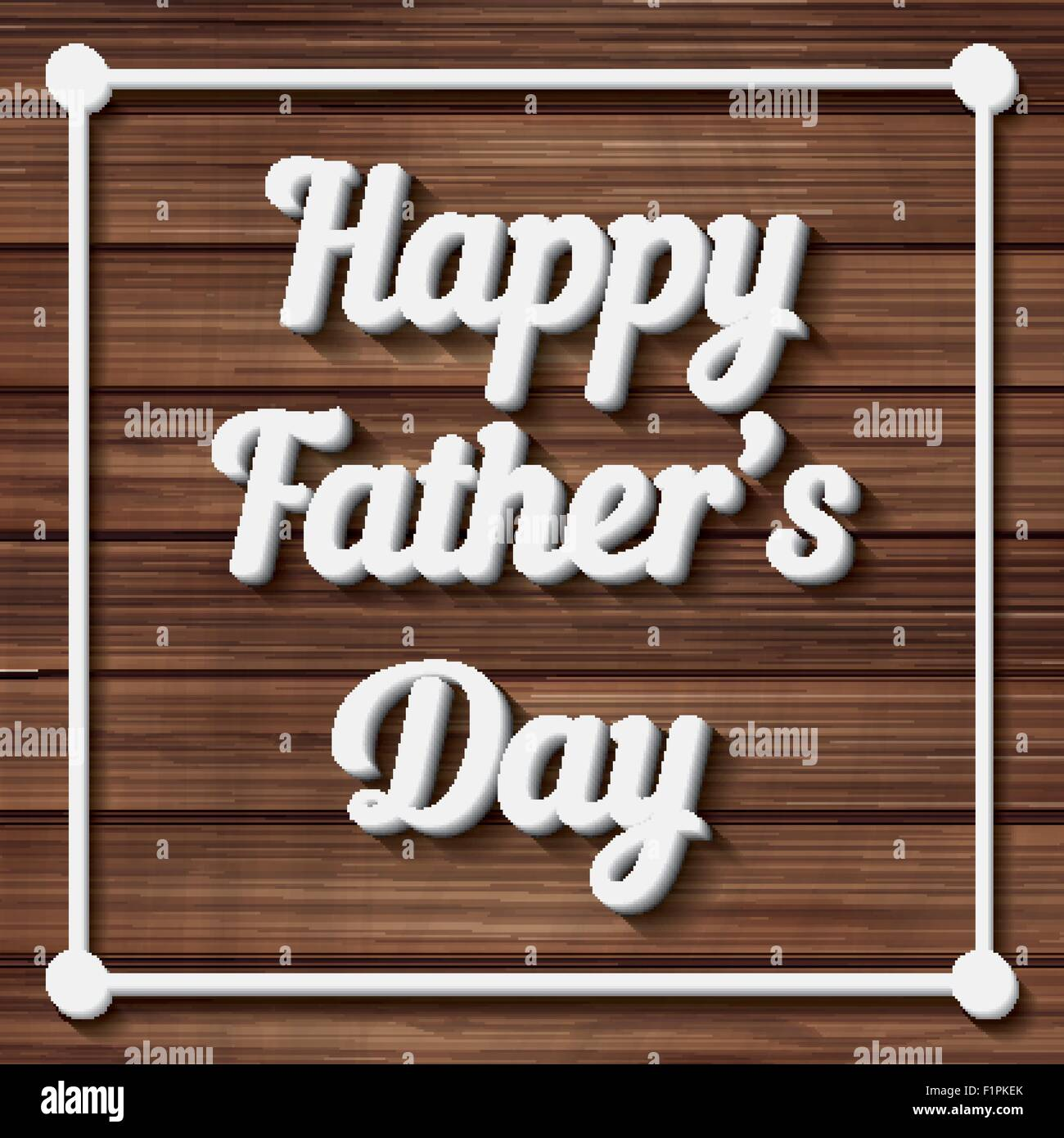 Happy Father's Day Typographical Background with wooden texture. Vector illustration - Stock Image