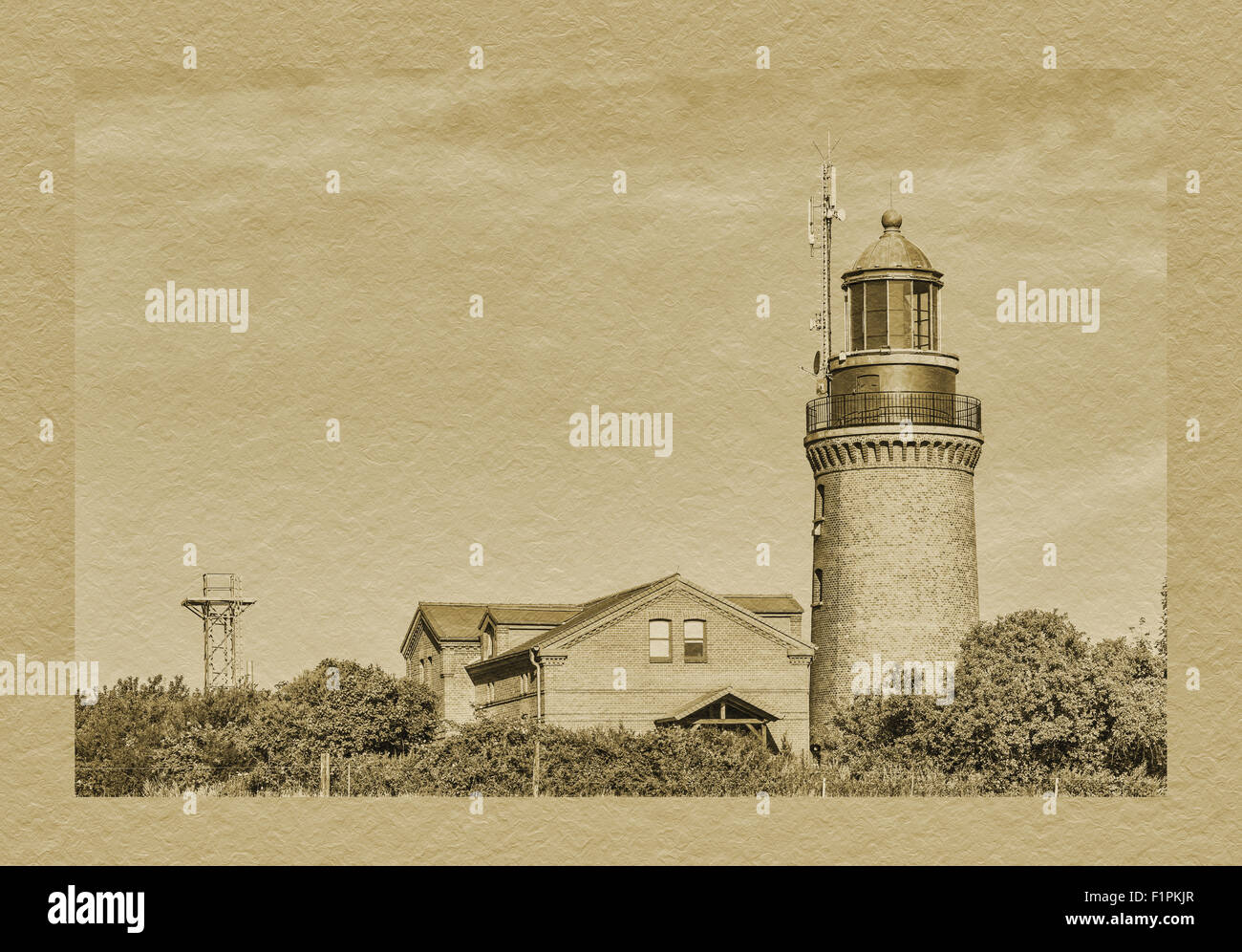 The lighthouse of Bastorf is located at the Bay of Mecklenburg, Rostock, Mecklenburg-Western Pomerania, Germany, - Stock Image
