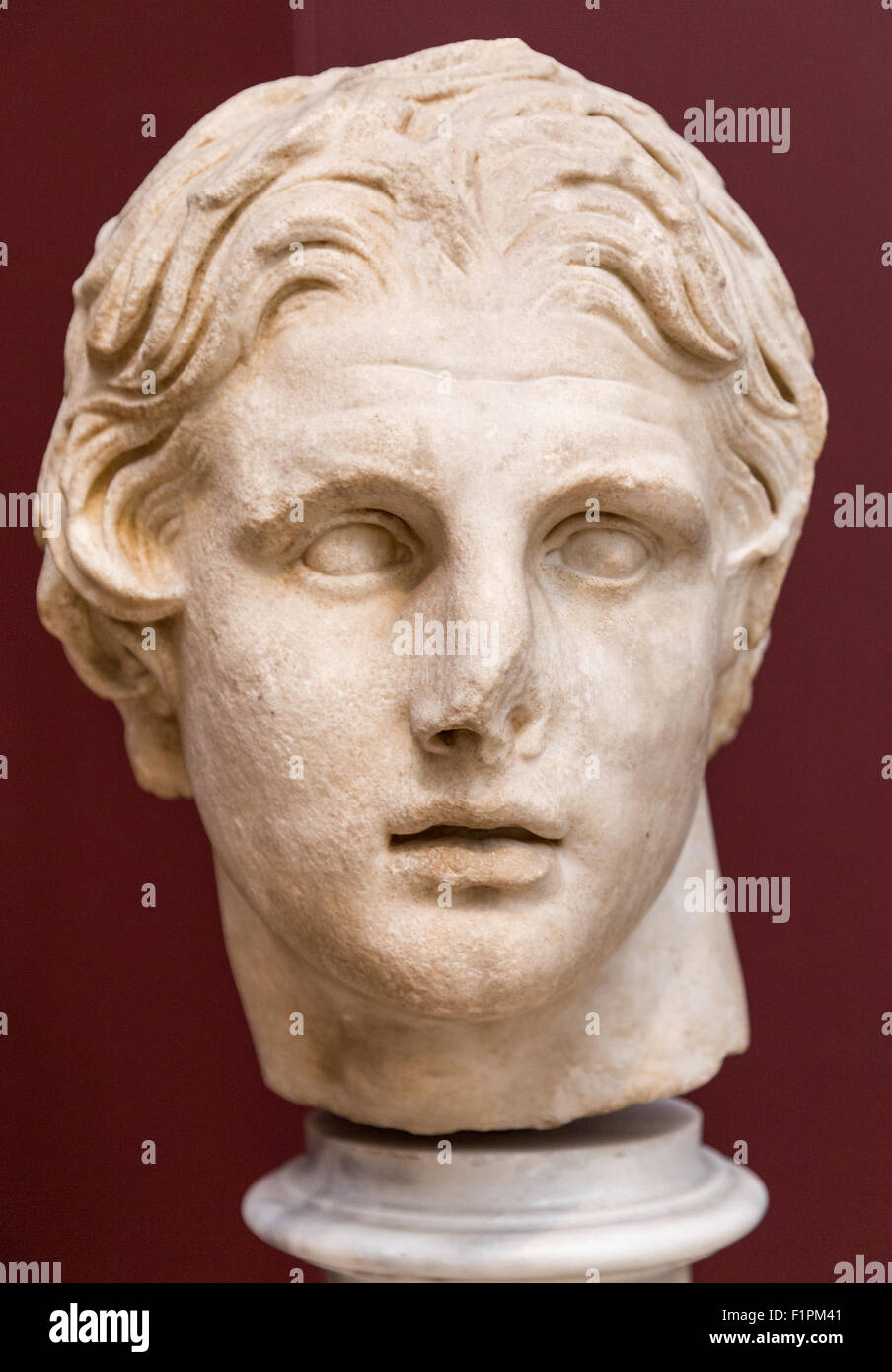 A Marble Head of Alexander The Great 2nd Century BC on display in the Archeology Museum in Istanbul Turkey - Stock Image
