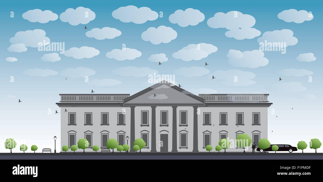 White House Washington DC with Black Silhouette of man and car Vector Illustration - Stock Vector