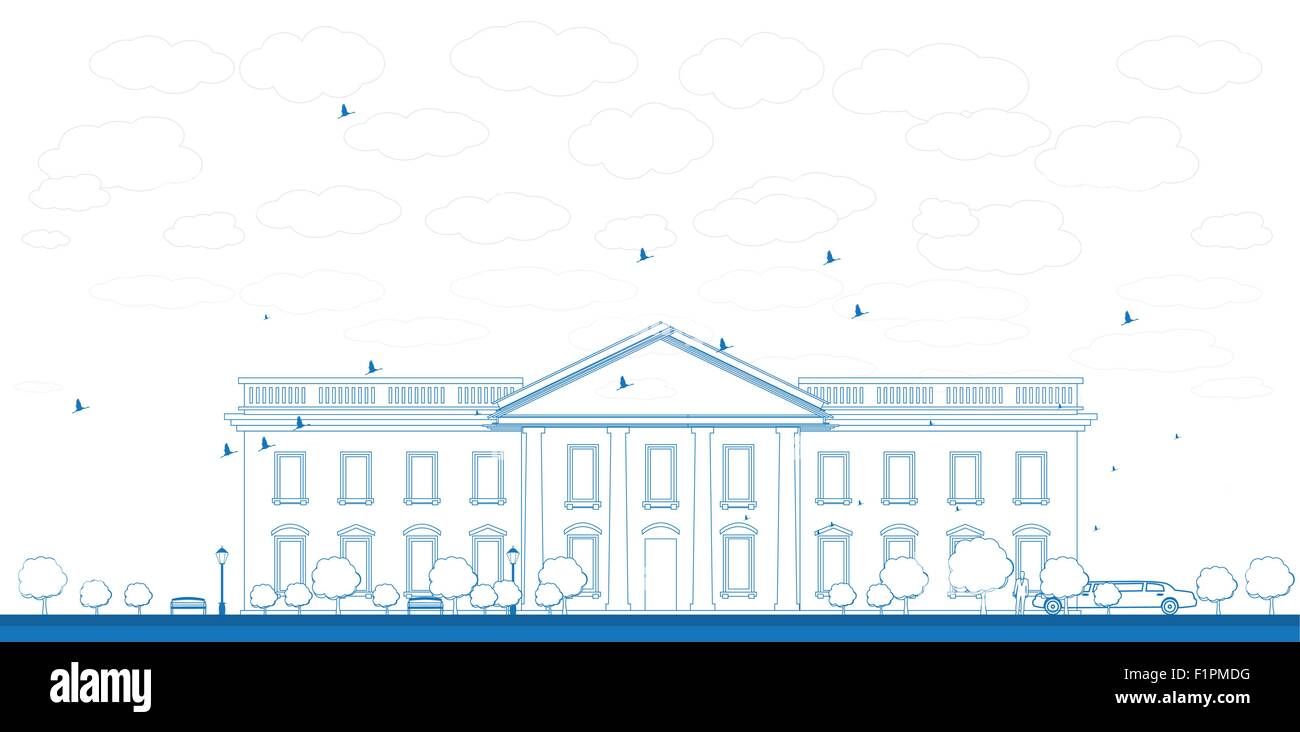 Outline White House Washington DC with Silhouette of man and car Vector Illustration - Stock Vector