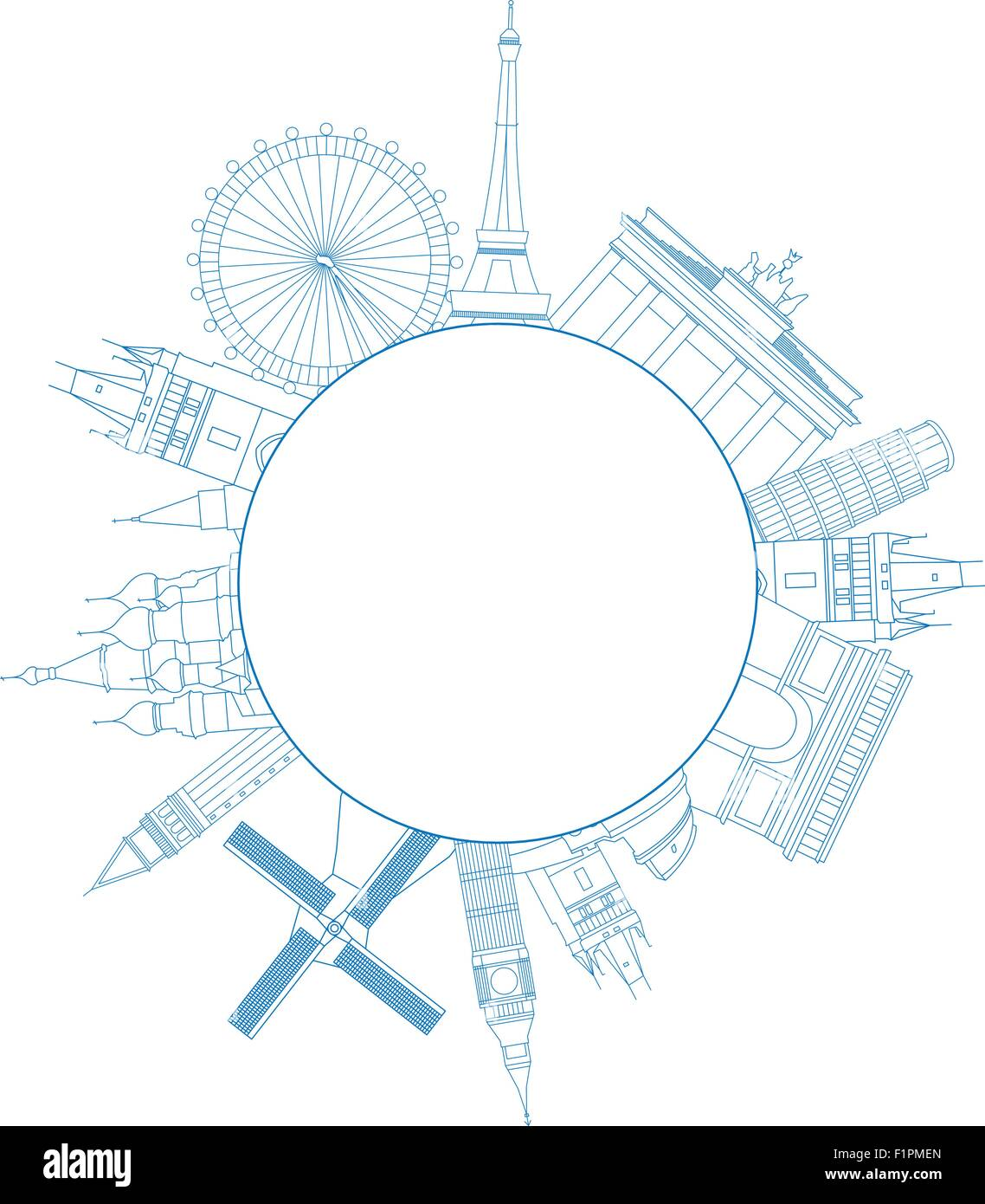 Vector illustration of travel famous monuments of Europe and place for text - Stock Vector