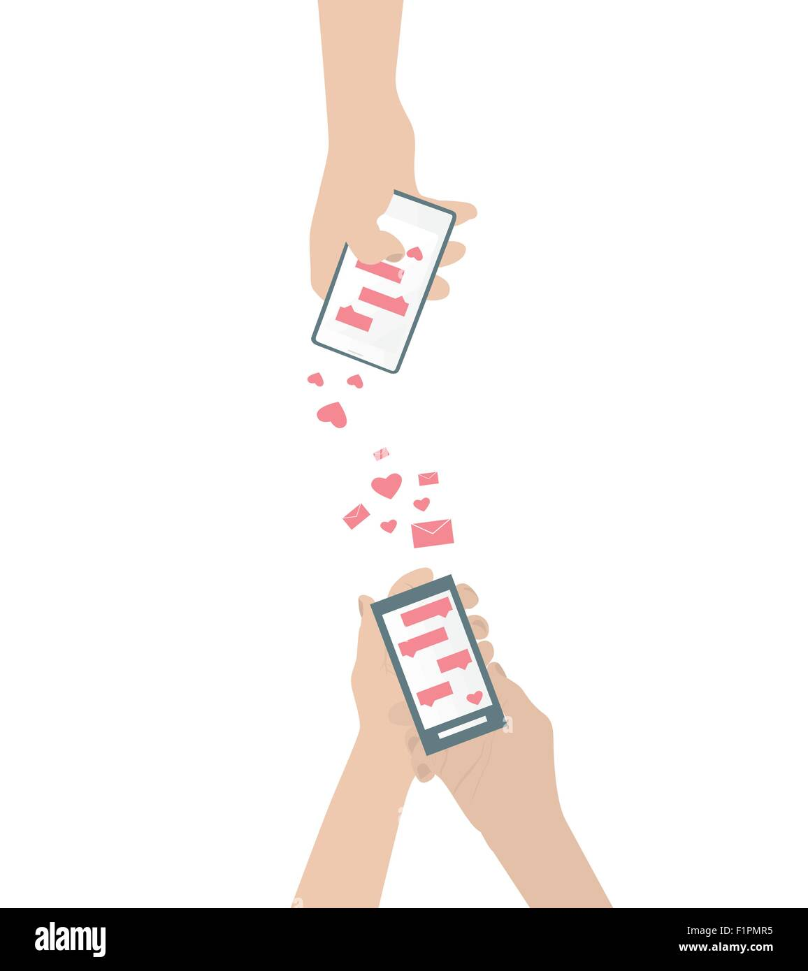 Human hand is sending love messages using cellphone wireless communications Isolated vector illustration - Stock Vector