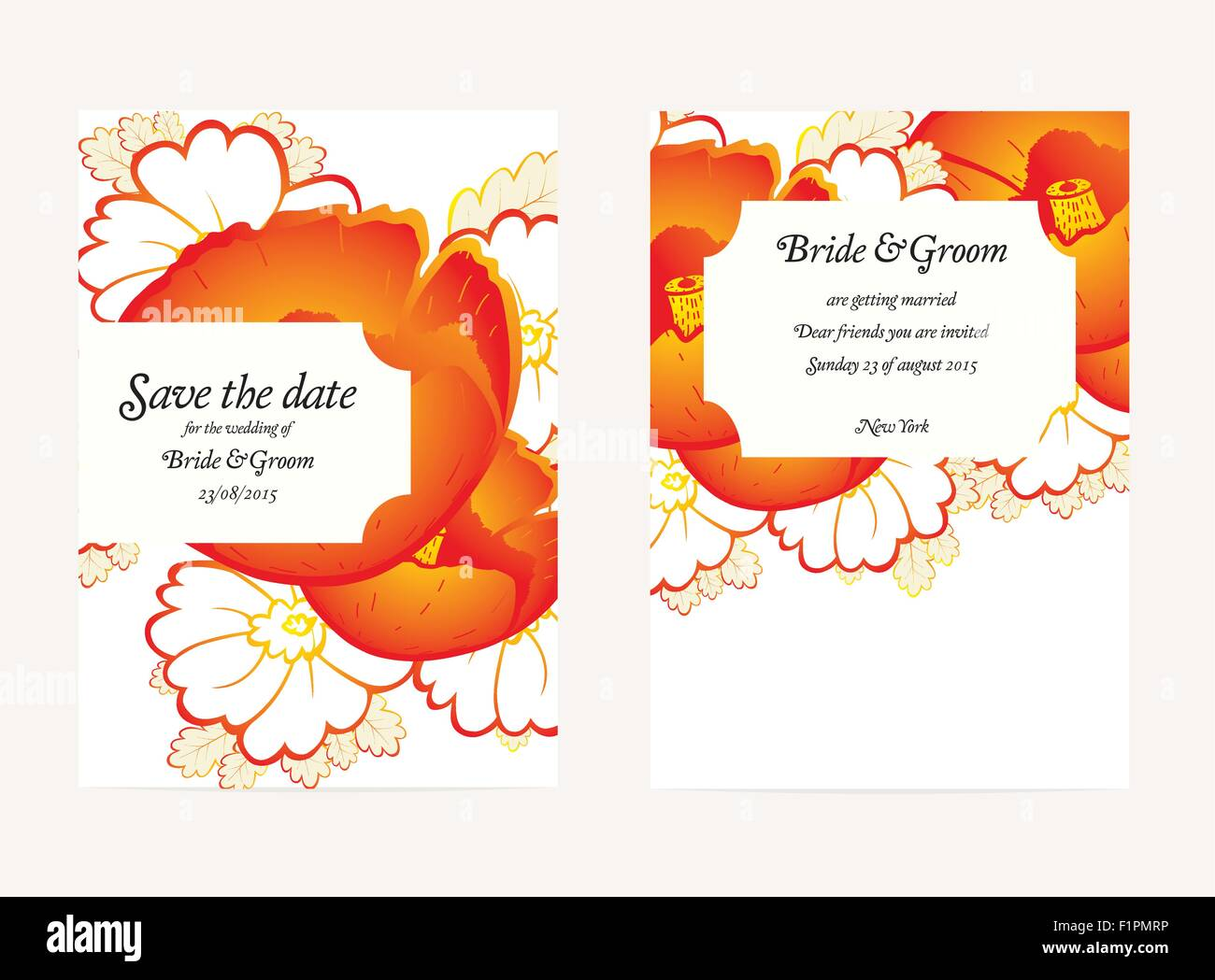 Wedding invitation cards with floral elements vector illustration wedding invitation cards with floral elements vector illustration stopboris Image collections