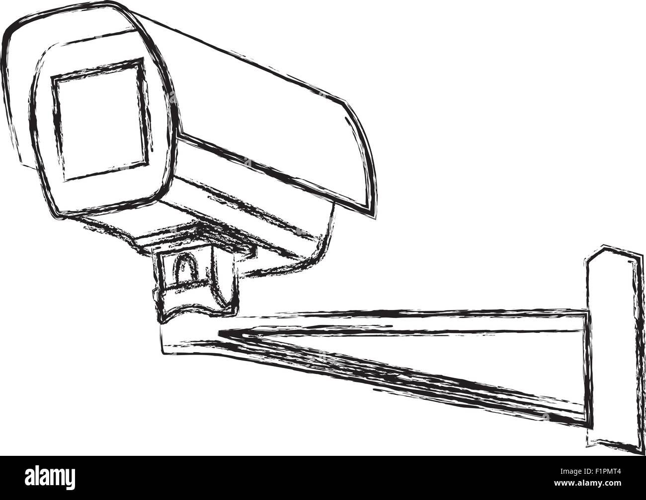 Black and White Surveillance Camera (CCTV) Warning Sign. Vector illustration - Stock Image