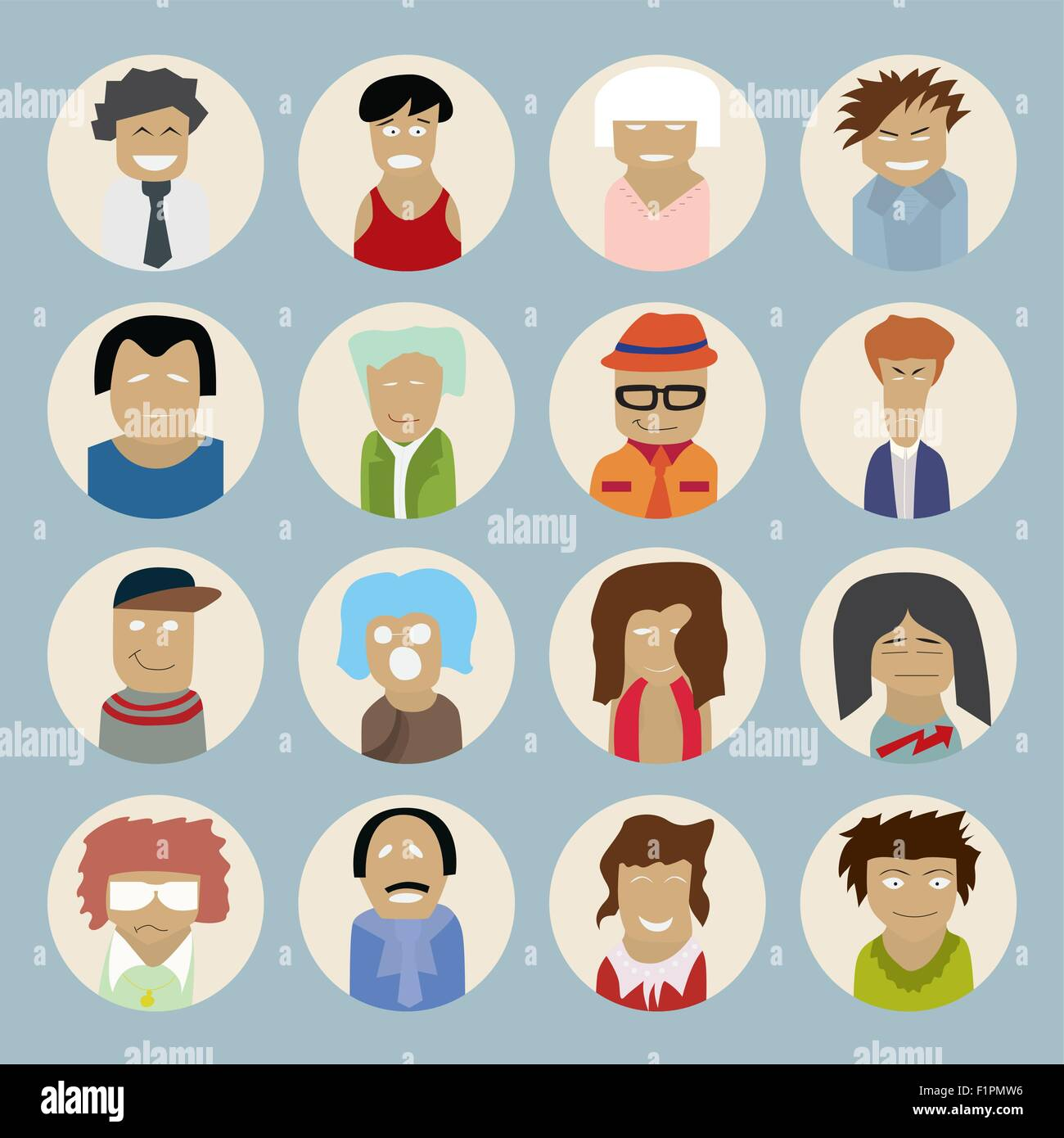 set of people icons in flat style with faces vector illustration of