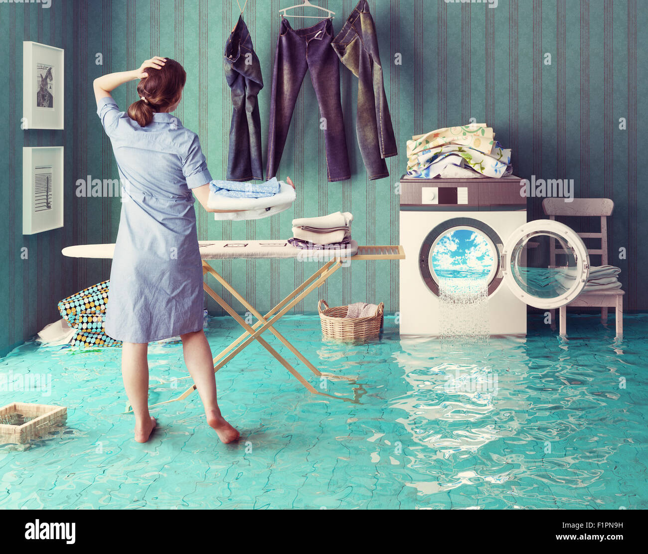 Housewife dreams. Creative concept. Photo combination - Stock Image