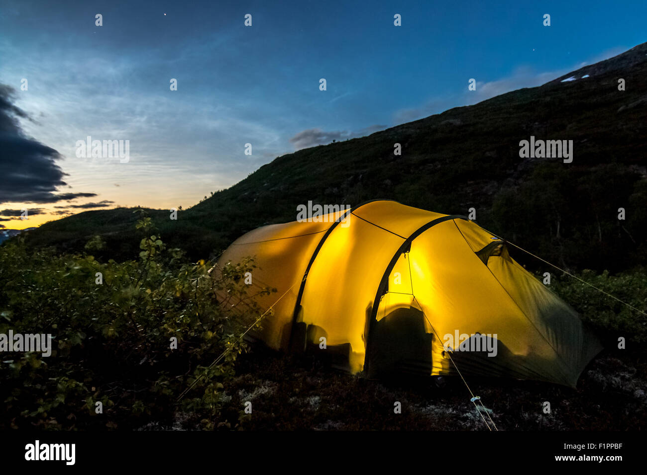 Tent in the wilderness of Norway. - Stock Image
