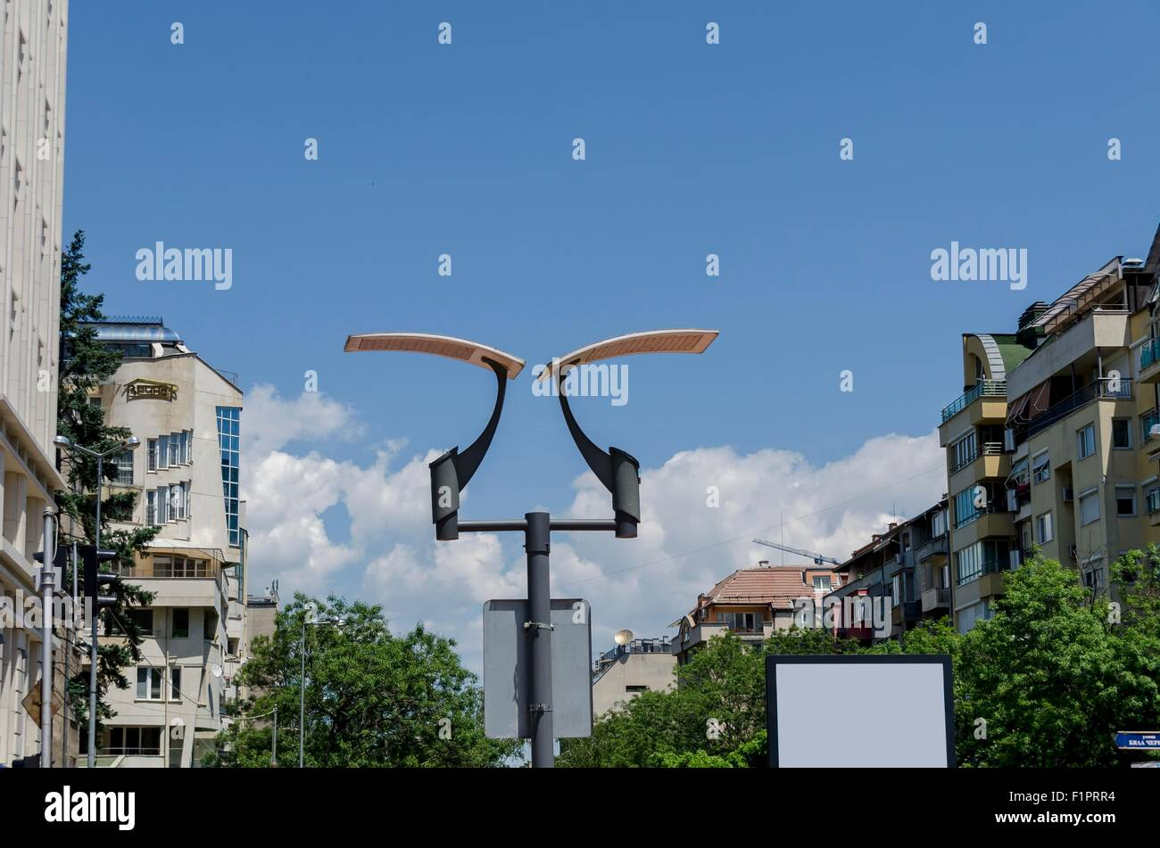 Lighting fixture with solar battery in Park, Sofia Bulgaria - Stock Image