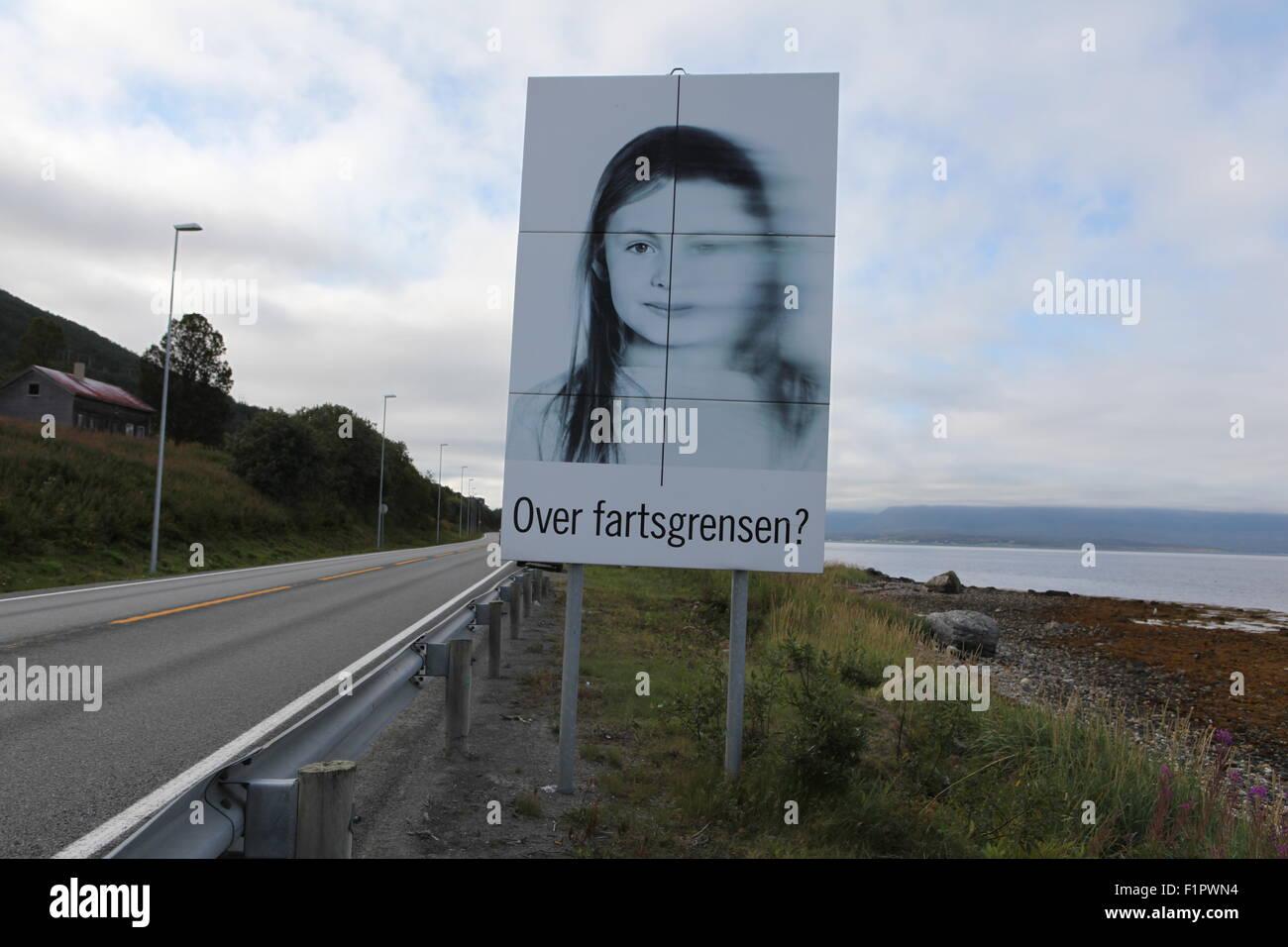 Tiredness road sign near Tromso, Troms, Norway, Lapland Stock Photo