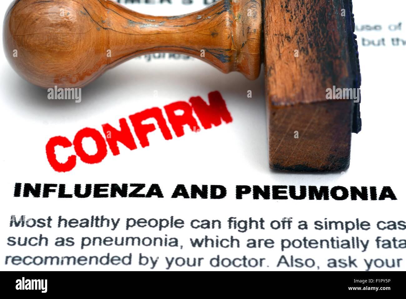 Influenza and pneumonia - Stock Image