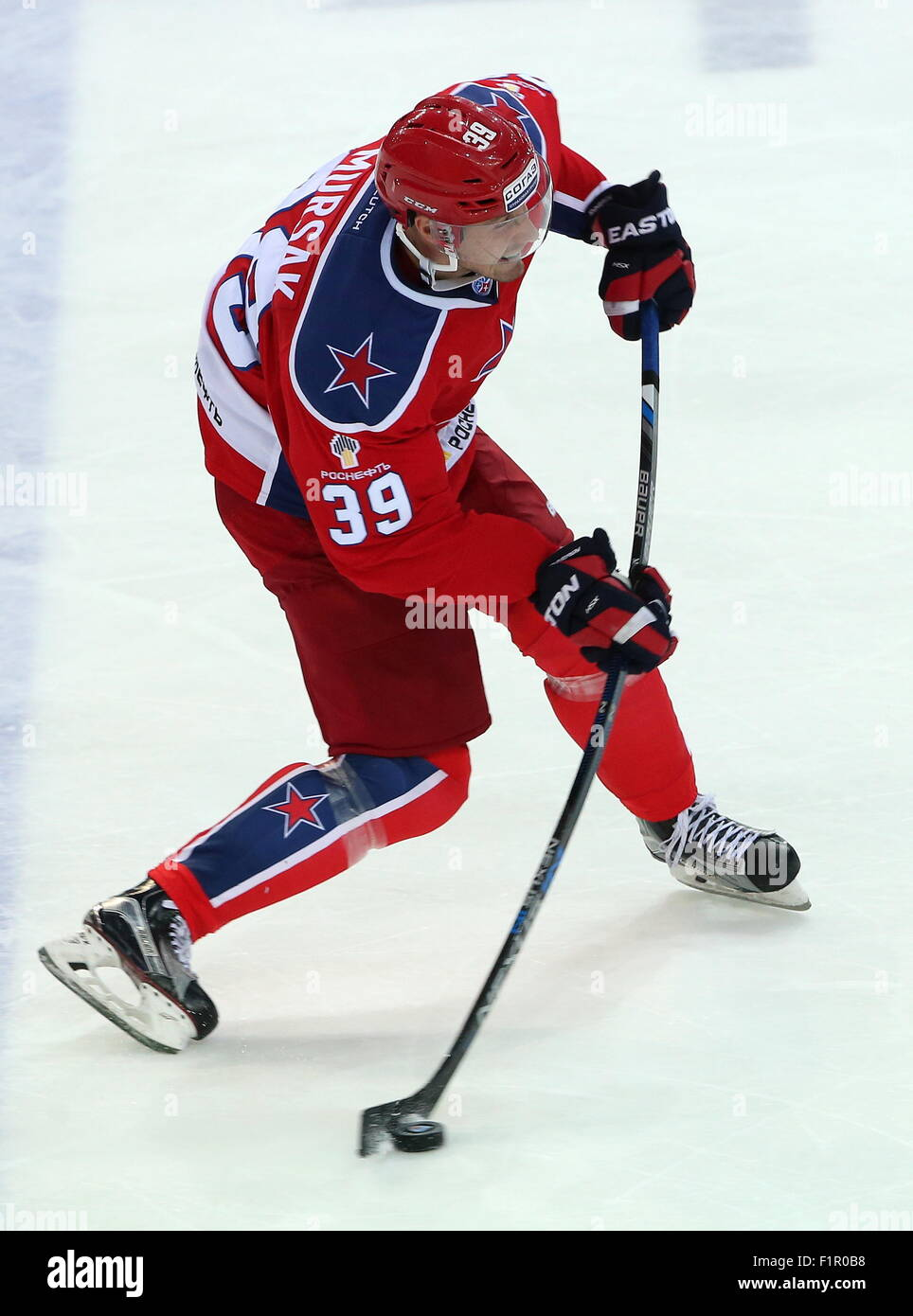 Moscow, Russia. 4th Sep, 2015. CSKA's Jan Mursak in action in a 2015/2016 KHL Regular Season ice hockey match - Stock Image