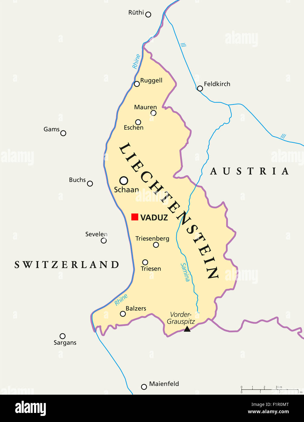 Liechtenstein political map with capital Vaduz national borders