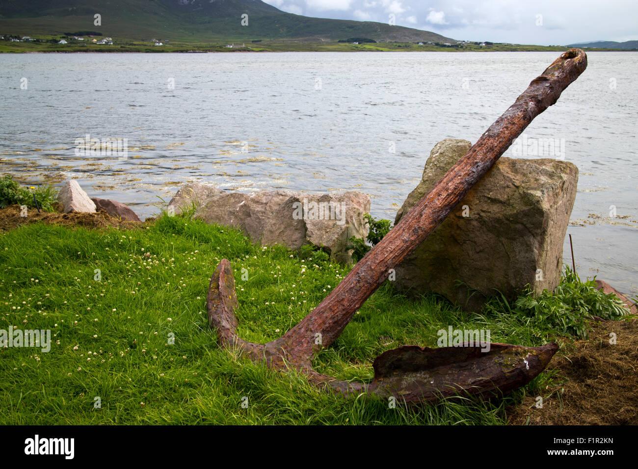 rusty ships anchor Achill Island, County Mayo, Ireland - Stock Image