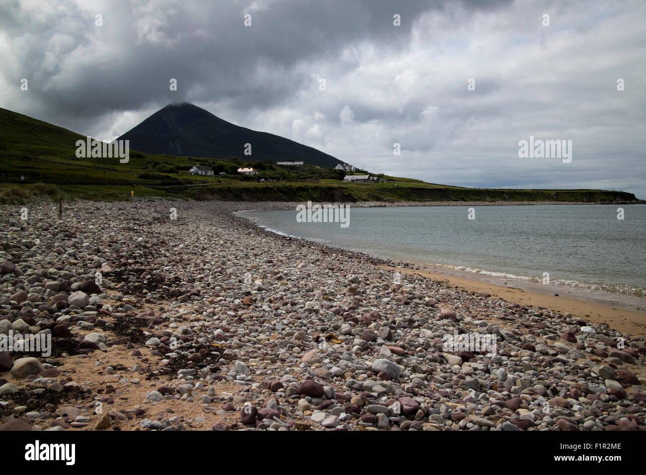 golden strand Barnynagappul Strand with view of slievemore Achill Island County Mayo Ireland - Stock Image