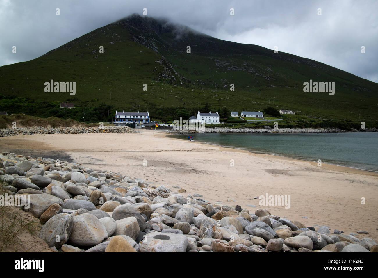 doogort silver Strand with view of slievemore Achill Island County Mayo Ireland - Stock Image