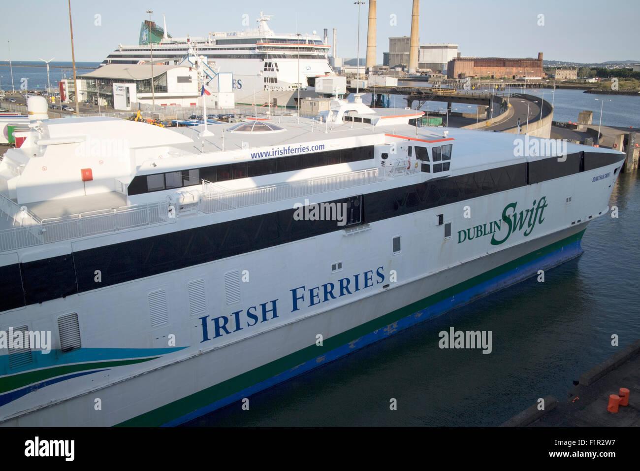 irish ferries ferry port with jonathan swift fast ferry dublin port republic of Ireland - Stock Image
