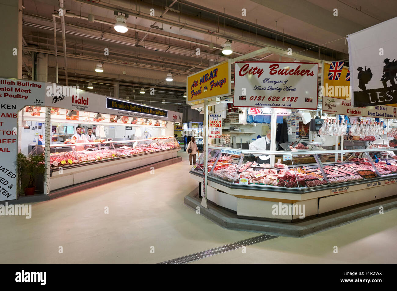 fresh food at the bullring indoor market Birmingham UK - Stock Image