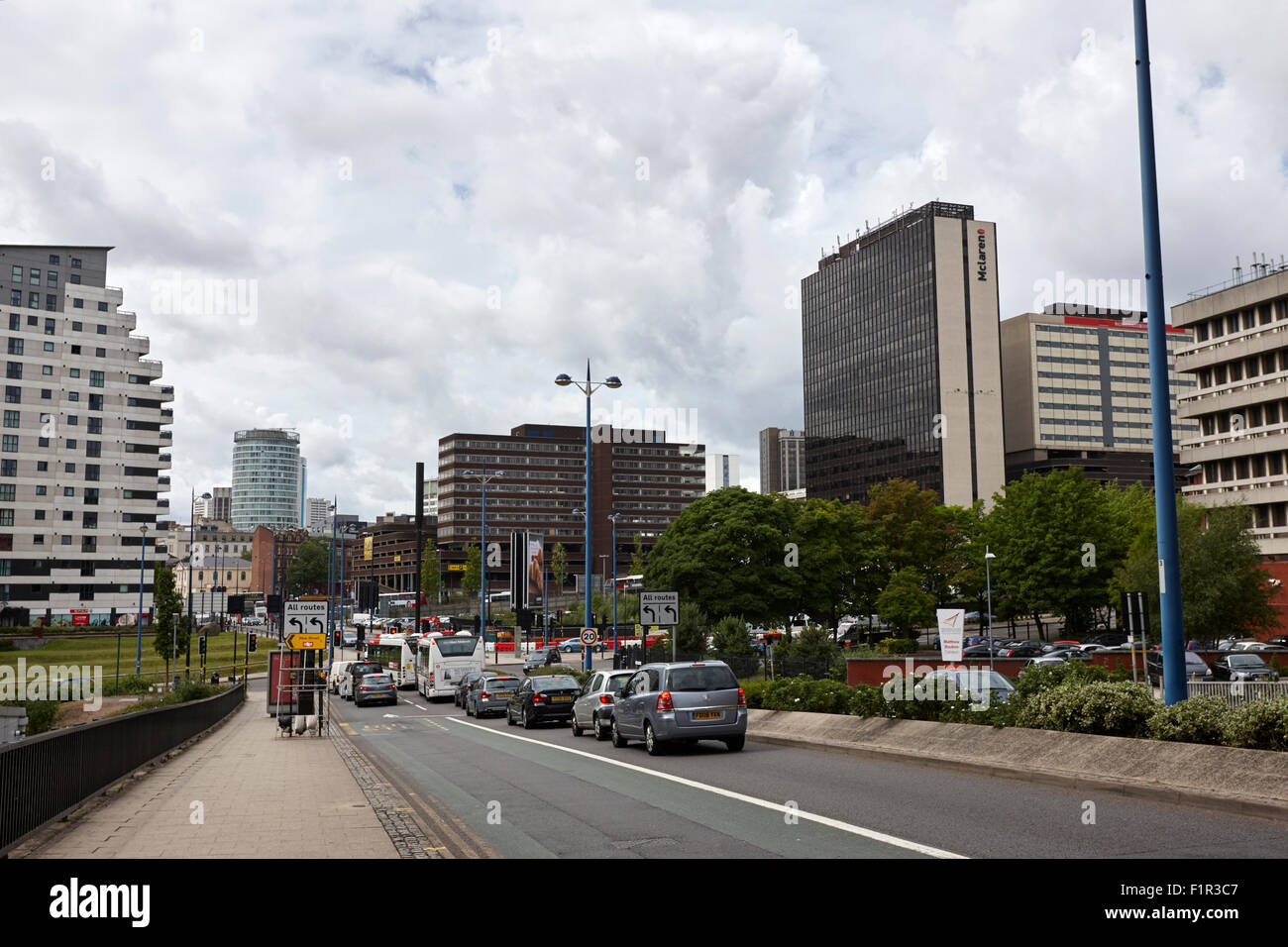 jennens road from eastside to Birmingham city centre UK - Stock Image