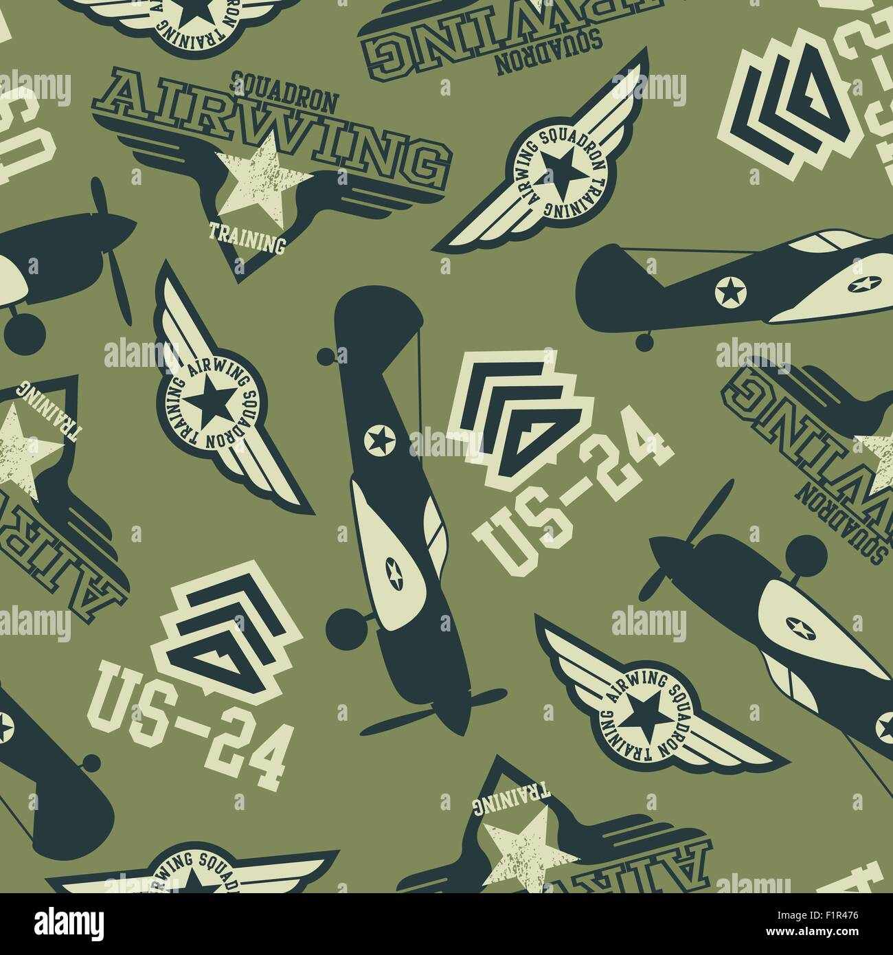 WW2 air squadron seamless pattern. - Stock Vector