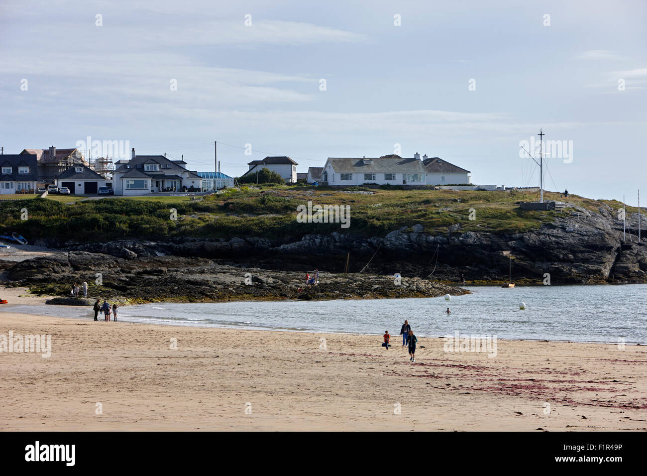 trearddur bay beach north wales uk - Stock Image