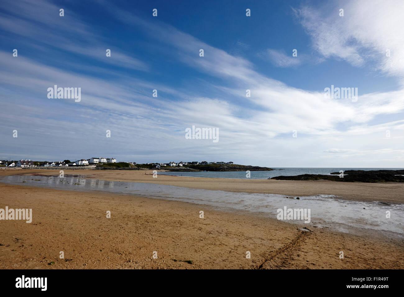 trearddur bay village beach north wales uk - Stock Image