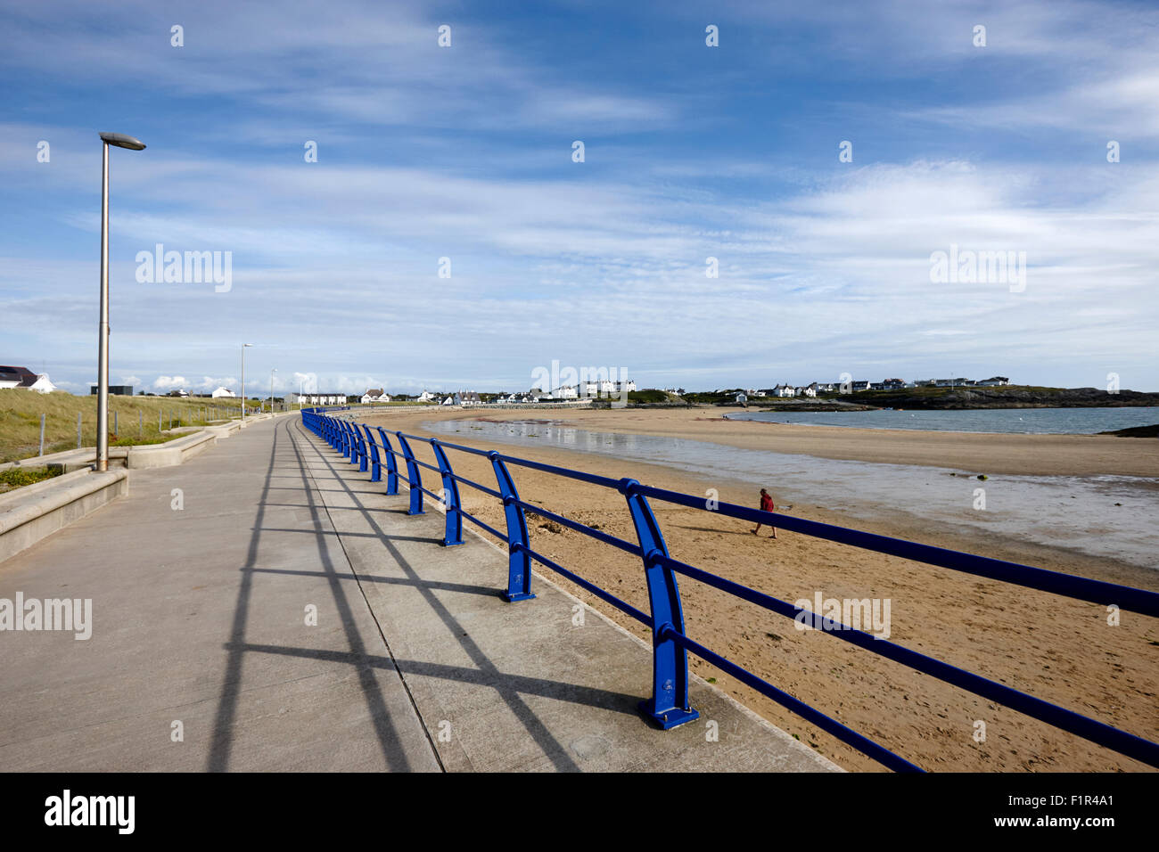 seafront and beach at trearddur bay village north wales uk - Stock Image