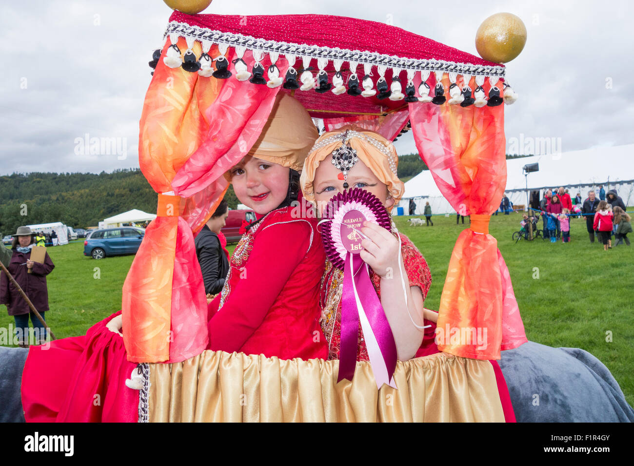 Kildale, North Yorkshire, UK. 5th September, 2015. Fantastic costumes by the winners of the mounted pony fancy dress - Stock Image