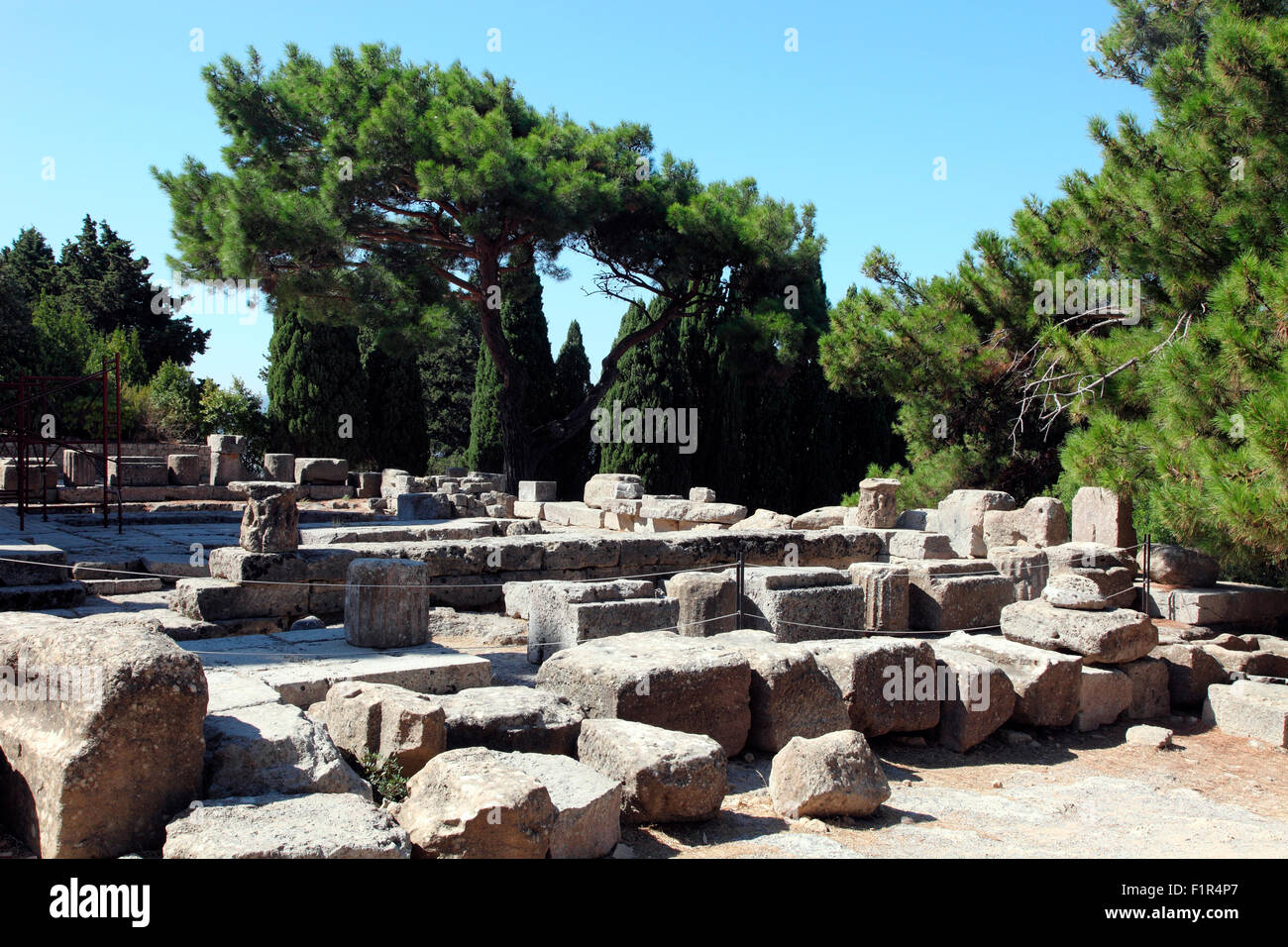 Ruins of the 3rd century BC Temple of Athena, Filerimos, Rhodes - Stock Image