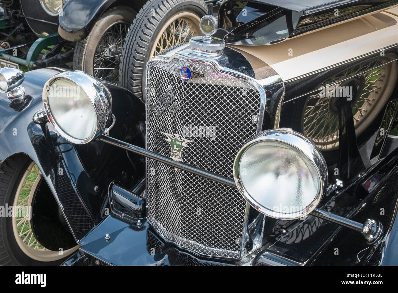Talbot-London 6 classic vintage car grille and headlamps, England UK - Stock Image