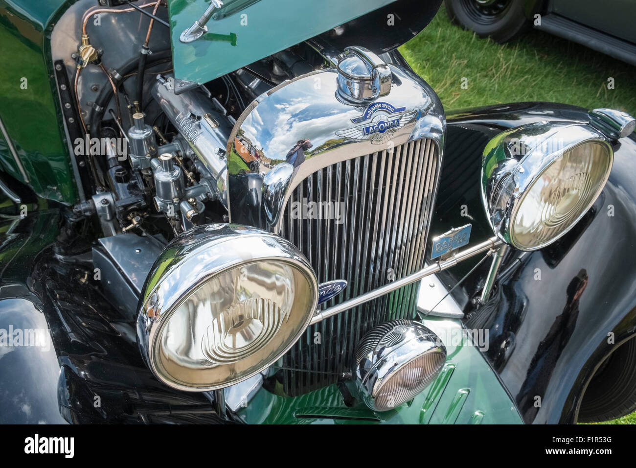 Lagonda deClifford Special vintage car front and engine, on display at a Country Fair event, England UK - Stock Image