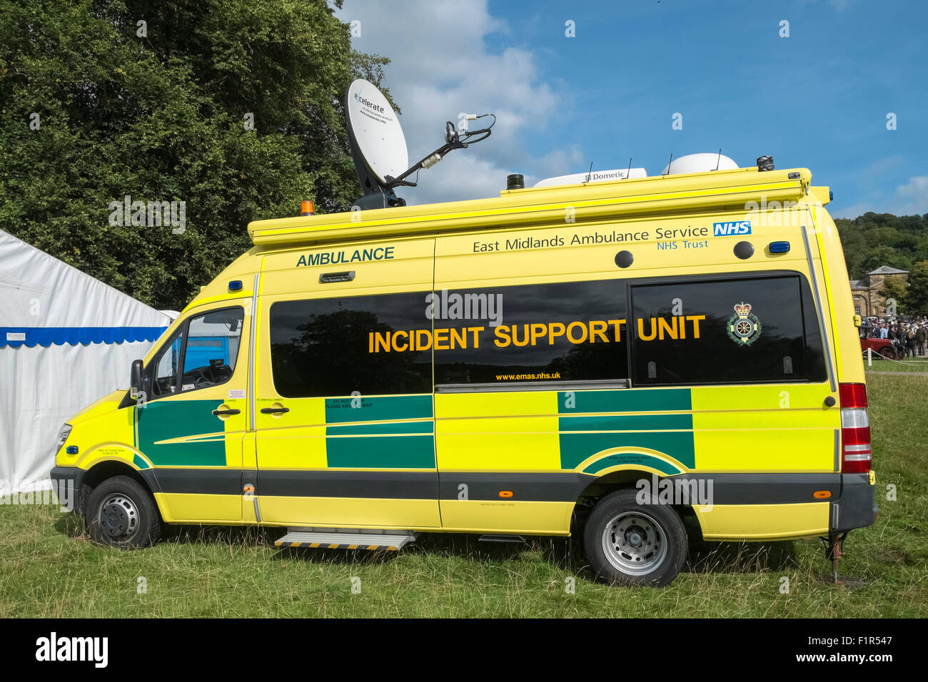 East Midlands Ambulance Service Incidence Support Unit vehicle at a Country Fair event, England UK - Stock Image
