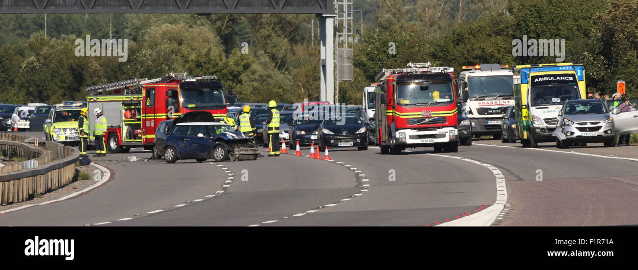 Hampshire, UK. 6th September, 2015. A27 Road Traffic Accident involving Six Cars One Driver Cut free from the wreckage - Stock Image