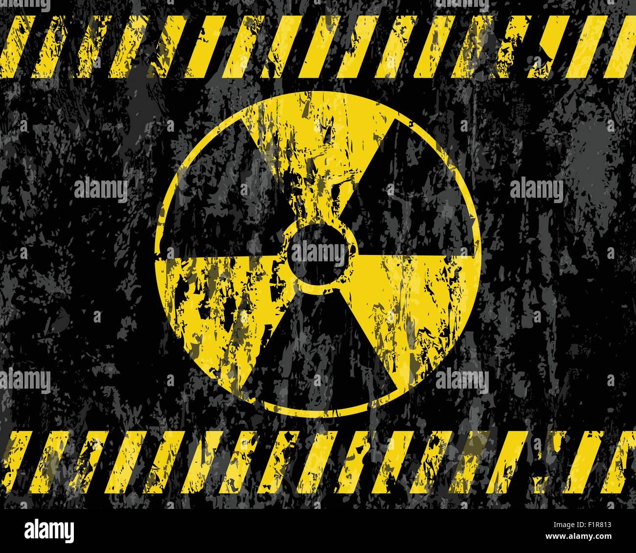 grunge radiation sign background. Vector illustrator. - Stock Image