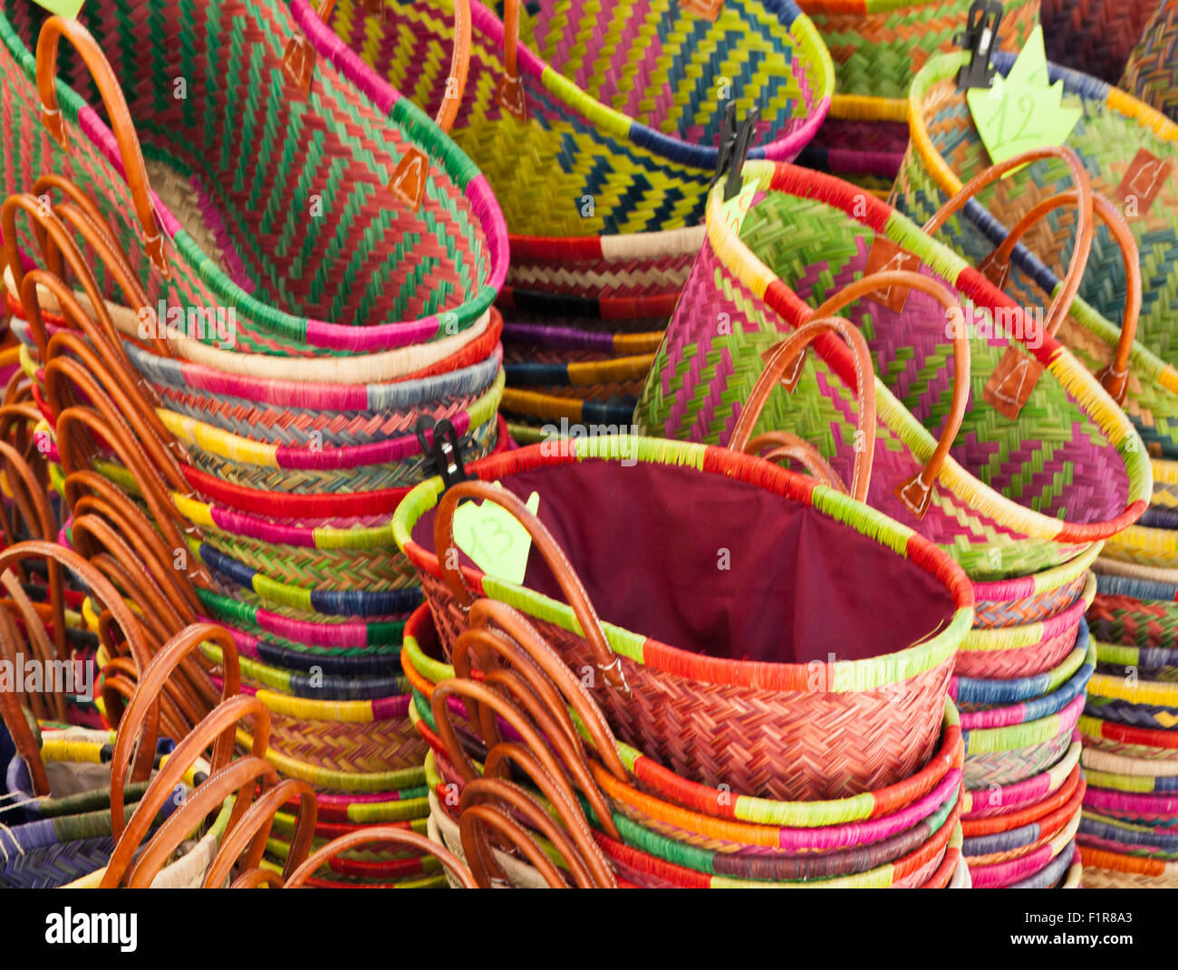 Colourful Baskets in the market, Tarn-et-Garonne,Midi-Pyrenees, southern France, 2015 - Stock Image