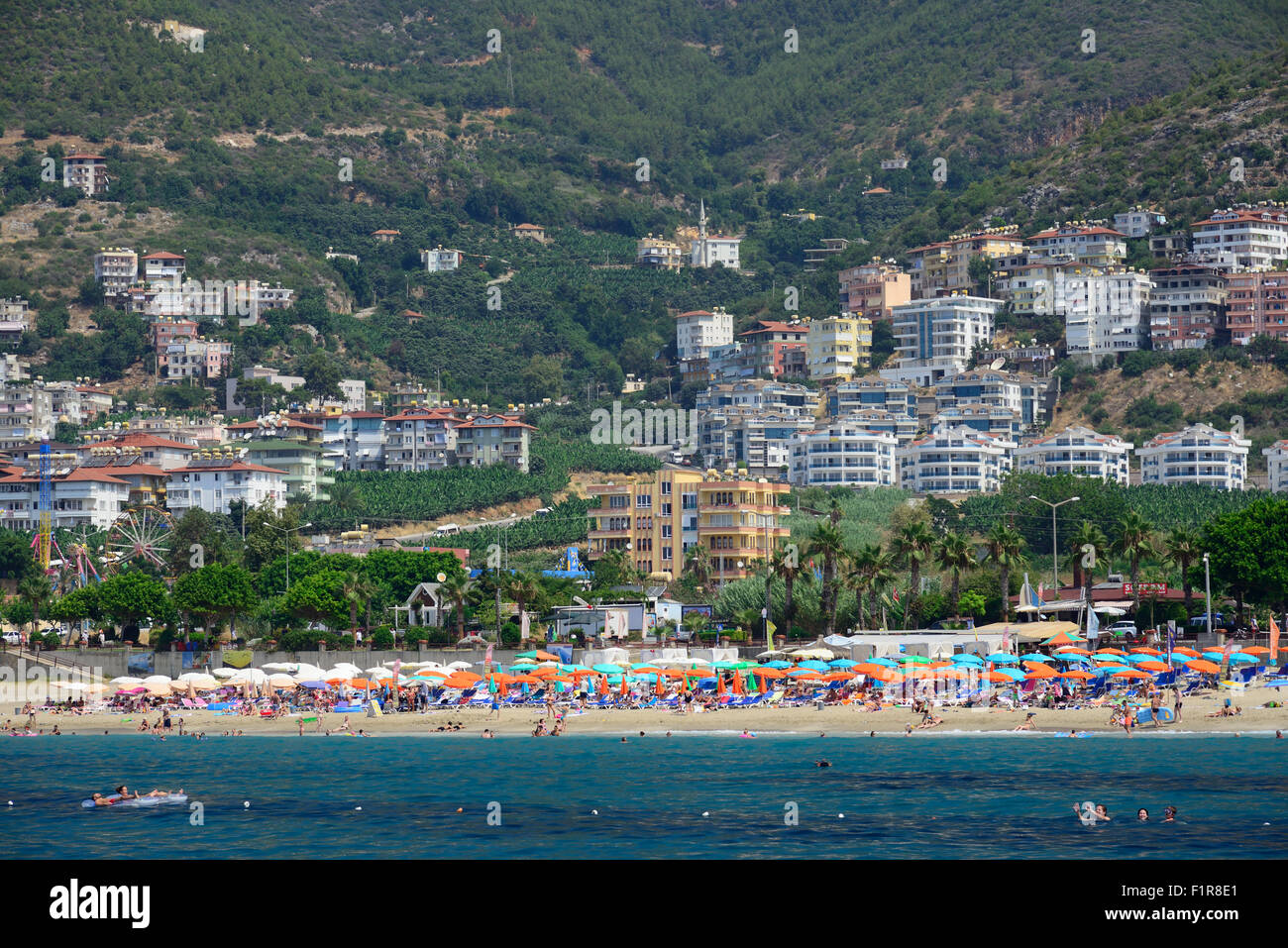 Beach and seafront in Alanya, Turkey - Stock Image