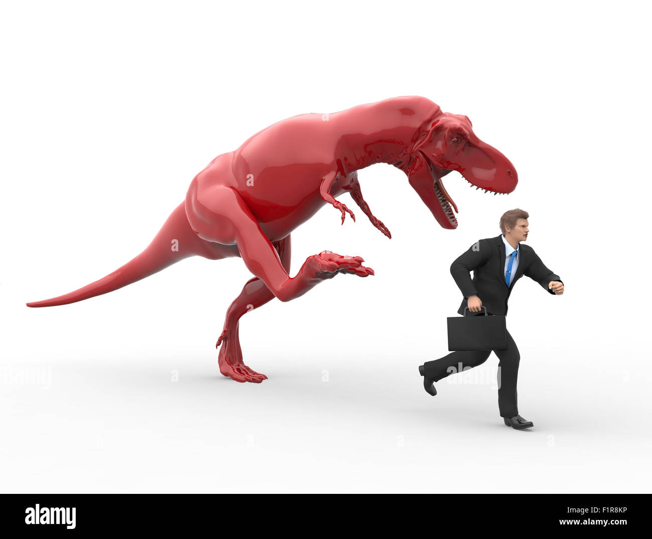dinosaur hunting for a businessman - Stock Image