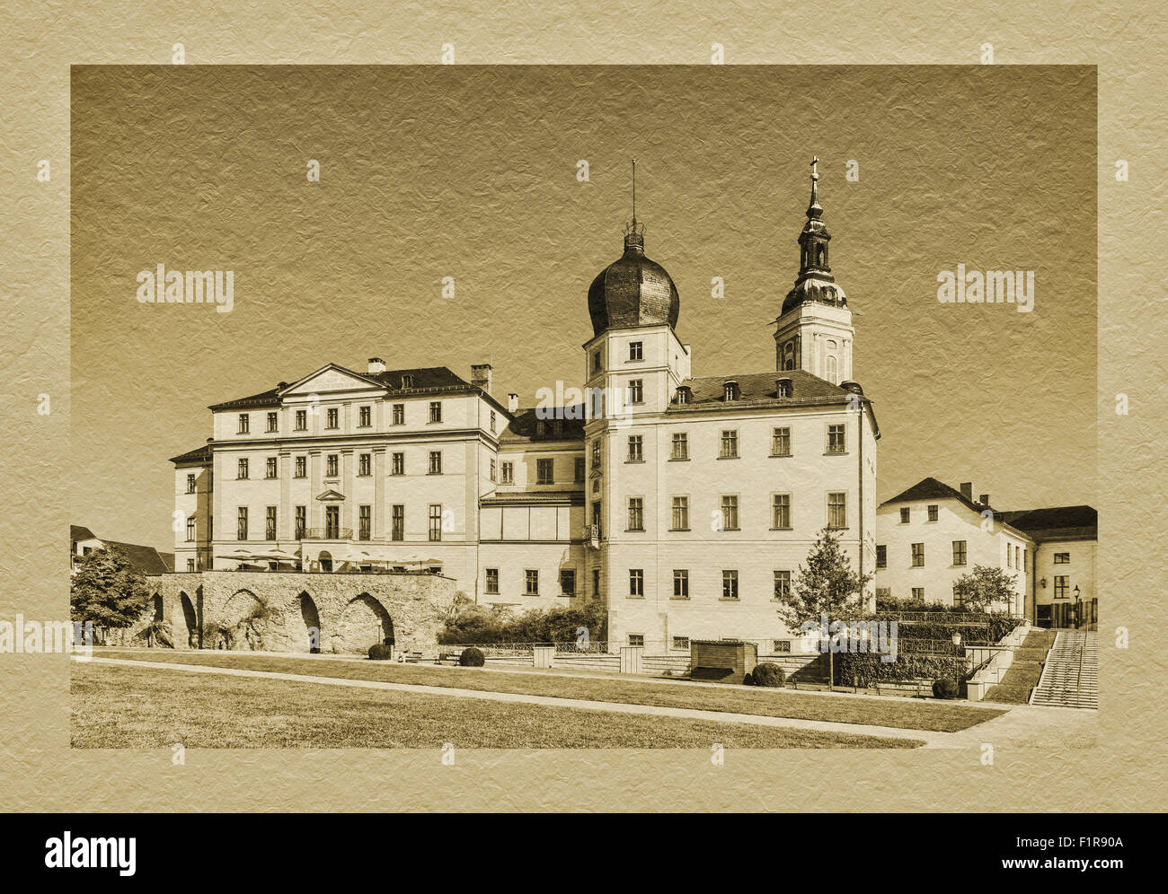 The Lower Castle is situated next to the St. Marys Church, Greiz, Thuringia, Germany, Europe - Stock Image
